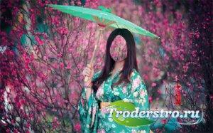 Фото шаблон - Девушка в ярком кимоно