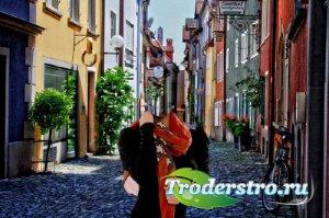 Фотошаблон - Прогулка по красивой улице в Германии