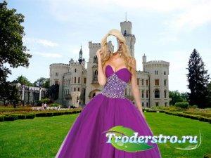Шаблон для фото - У замка в красивом сиреневом платье