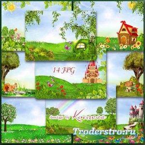 Детские фоны для коллажей с цветами, бабочками и сказочными замками - Волше ...