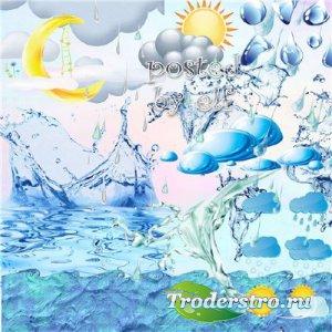 Клипарт - Вода, дождь, облака