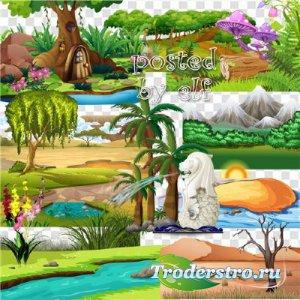 Элементы ландшафта на прозрачном фоне