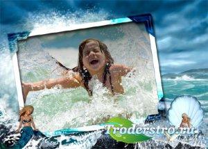 Рамка для детей - Морская волна