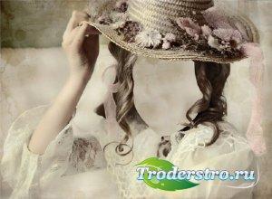 Шаблон для фото - Девушка в старинном наряде