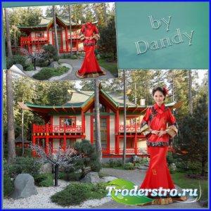 Шаблон для фотошопа - Японская девушка в  кимоно