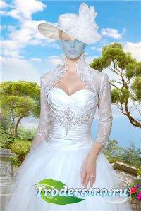 Женский шаблон для фотошопа – В белом нарядном платье