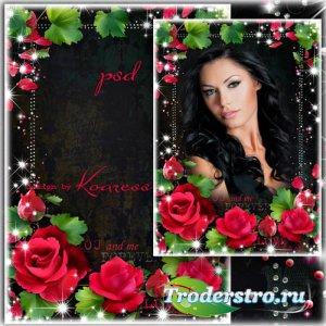 Романтическая фоторамка - С красными розами