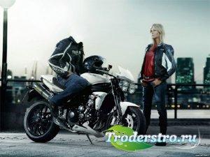 Шаблон для фото - Байкер на мотоцикле с девушкой