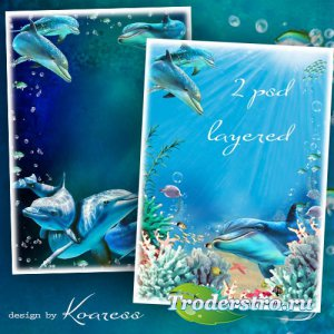 Два многослойных исходника для морских рамок и коллажей - Дельфины