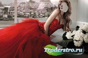 Шаблон для фотошопа - В красном королевском платье