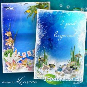 Два многослойных исходника для фоторамок и коллажей - Море, пальмы, шелест  ...