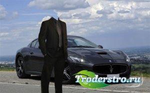 Мужской фотошаблон - На Maserati