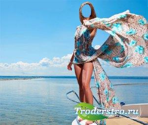 PSD шаблон для девушек - Летний отдых на яхте в море