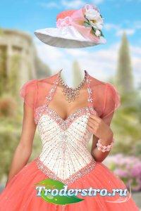 Шаблон для фотошопа женский – Бальное платье с украшением