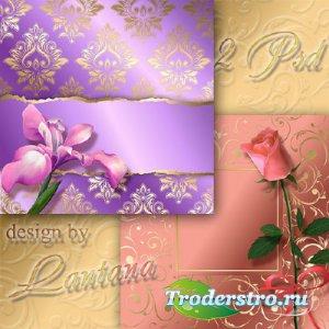 PSD исходники - Текстурные фоны с цветами