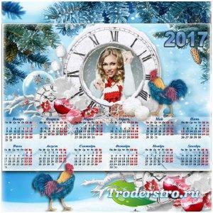 Новогодний календарь с рамкой для фото  - Яркие мгновения праздника