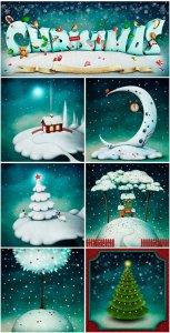 Нарисованные новогодние фоны - растровый клипарт