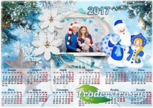 Новогодний календарь с рамкой для фото - Праздник приближается
