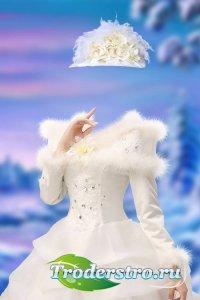 Женский шаблон для фотомонтажа – Бальное платье с пушком