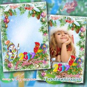 Новогодняя открытка-фоторамка - В Новый Год нас чудо ждет
