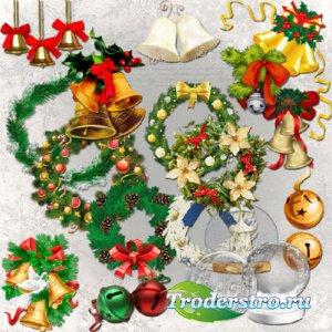 Клипарт - Рождественские колокольчики, венки и шары