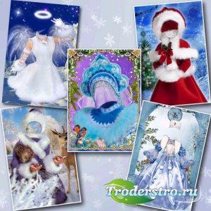 Новогодняя коллекция детских шаблонов для фотошопа – Юные Снегурочки