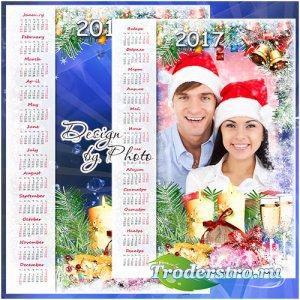 Новогодний календарь с рамкой на 2017 год - Снег идёт, снег идёт, значит ск ...