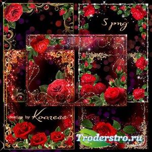Романтические рамки для фото с красными розами в png к Дню Влюбленных