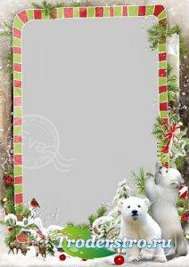 Детская рамка для фото - Белые мишки в зимнем лесу