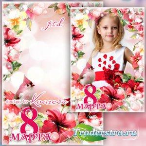 Весенняя рамка для портретных фото к 8 Марта - Милые наши красотки, девчоки