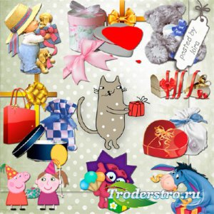 Клипарт - Разнообразные подарочные коробки, упаковочные банты и зверюшки с  ...