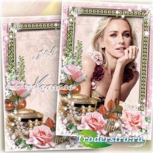 Романтическая винтажная женская рамка для фотошопа - Очаровательная леди