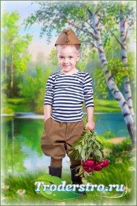 Детский шаблон для мальчика – Юный солдат