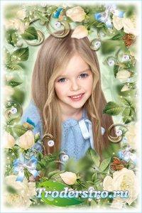 Цветочная рамка для фотошопа - Белые розы