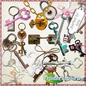Клипарт - Ключи и замки на прозрачном фоне
