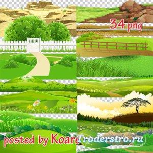Png клипарт для дизайна - Рисованые холмы, горы, степи и другие элементы пе ...
