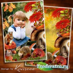 Осенняя рамка-коллаж для детей с зайчиком и белочкой - На осенней сказочной ...