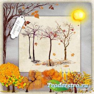 Клипарт осенний - Деревья с красной и желтой листвой