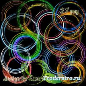 Клипарт png на прозрачном фоне для дизайна - круглые рамки вырезы, спирали, ...