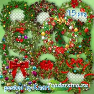 Зимний клипарт png - Рождественские венки