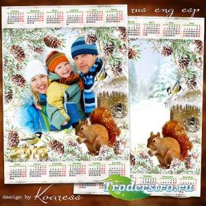 Календарь с фоторамкой на 2018 год для детских или семейных фото - Зима в л ...