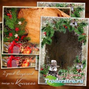 Две новогодние многослойные праздничные открытки с рамками для фото - Испол ...