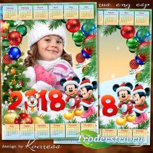 Детский календарь-рамка на 2018 год с Микки и Минни Маус - Блестят игрушки  ...