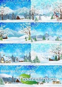 Набор растровых jpg фонов для фотошопа - Снежная зима