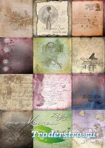 Винтажные растровые фоны с надписями для дизайна - Старых писем нежные слов ...