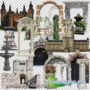 Клипарт png - старинные замки, башни, арки, фонтаны и другие элементы архит ...