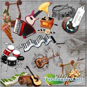 Клипарт - Скрипки, гитары, рояли и другие музыкальные инструменты