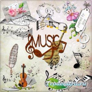 Клипарт - Музыкальный декор и ноты