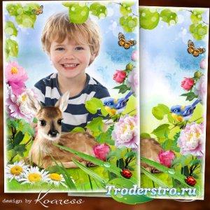 Фоторамка с природой для детских портретов - Оленёнок на полянке