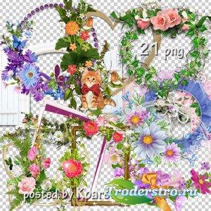 Подборка png рамок-вырезов с цветами для фотошопа - Цветочная коллекция